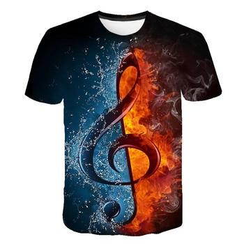 2019 new Flame T-shirt Men Music T-shirts 3d Guitar Tshirts Casual Metal Shirt Print Gothic Anime Clothes Short Sleeve t shirts