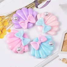 2020 New 10Pcs Flatback Resin Shell With Bow Pearl Embellishments For Scrapbooking Hairpin Accessories