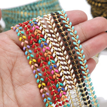 2 Meters Gold Plated Enamel Brass Fishbone Chains 6MM Handmade Boho Aircraft Chain Jewelry Supplies Mixed Color