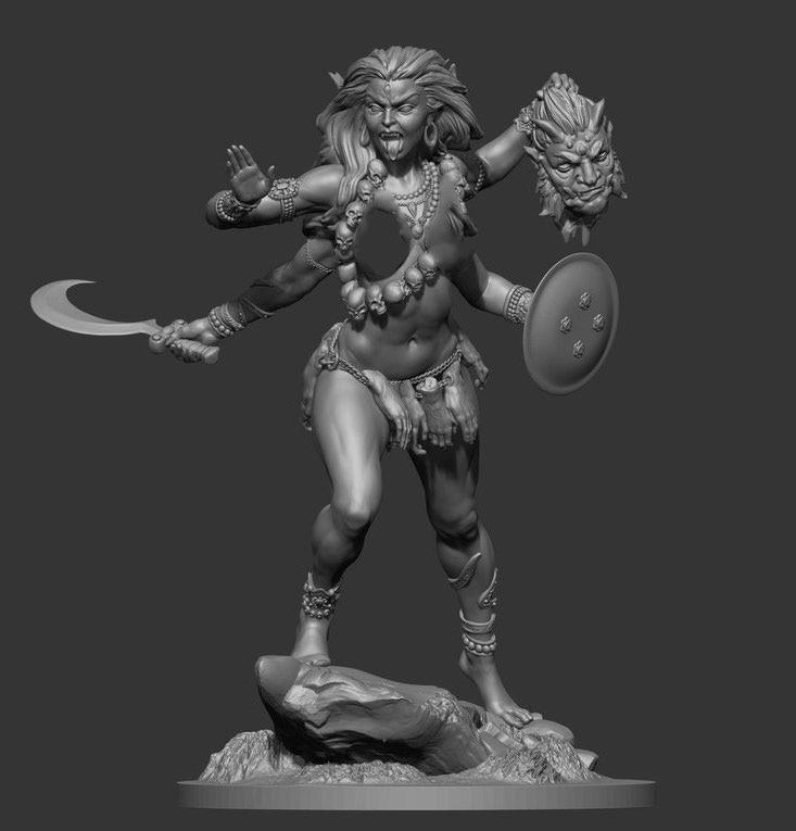 1/32 54MM Goddess Kali Stand 54MM    Resin Figure Model Kits Miniature Gk Unassembly Unpainted