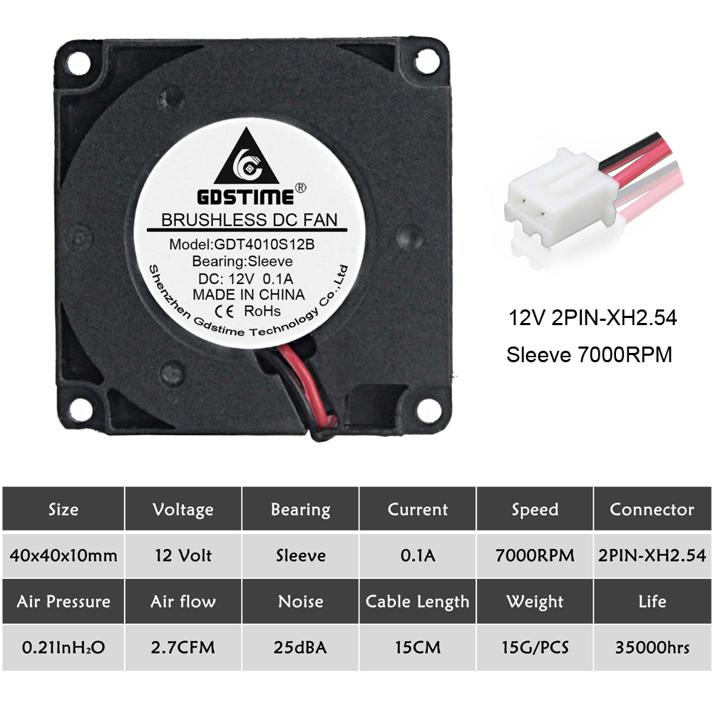 Купить с кэшбэком 5pcs Gdstime DC 12V 4010 2Pin 40x40x10mm 40mm Cooling Fan 3D Printer Blower