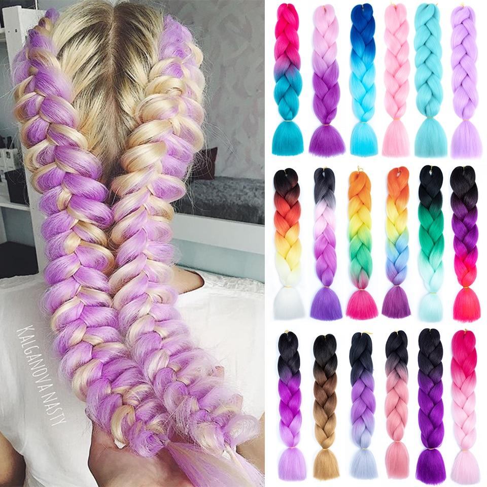 Омбре плетеные волосы, синтетические волосы для наращивания, для косичек, для плетения косичек, 24 дюйма, 100 г, Reshowbeauty