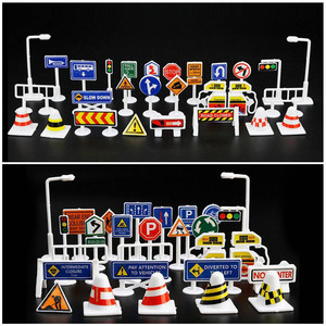 28pcs Set English Road Sign Traffic Sign Signage Diy Model Scene Car Toy Accessories Kids Children Play Learn Toys Game Car Kid