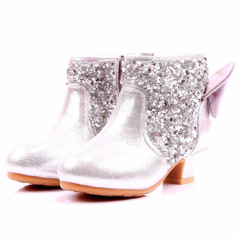 Mädchen Stiefel Herbst Winter Schuhe kinder Prinzessin Mode Strass High Heels Weibliche Party Kleid Schuhe Dünne Baumwolle Stiefel