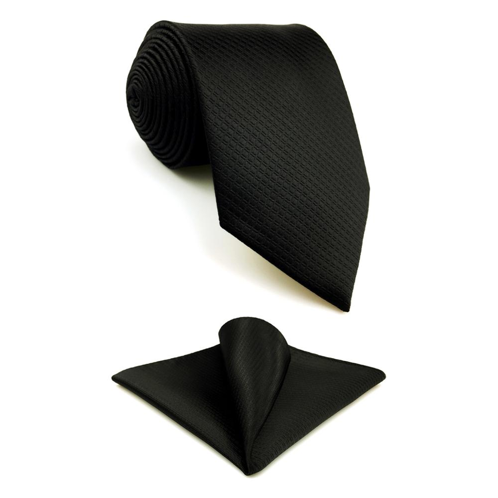 C28 Silk Black Solid Mens Necktie Set Fashion Wedding Acceossories Hanky Brand New Extra Long Size Ties For Male