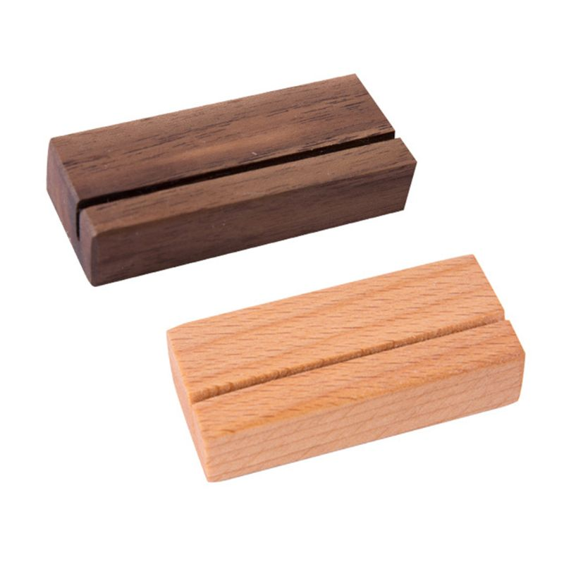 Wooden Numbers Photo Display Stand Business Card Holder Name Memo Clips Office Desk Organizer Dinner Party Black Walnut Beech Wo