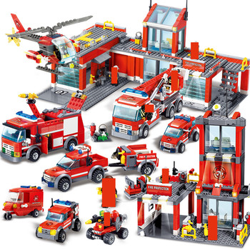 CITY FIRE FIGHT Engine Building Blocks Sets Firefighter Ladder Fire Truck Car Playmobil DIY Bricks Figures Educational Kids Toys