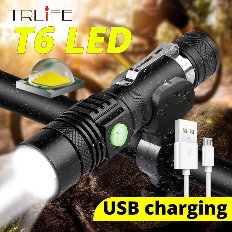 USB Rechargeable T6 LED Flashlight Aluminum Waterproof LED Flash Light Hand Torch Lamp Lantern 18650 LED With Power Reminder