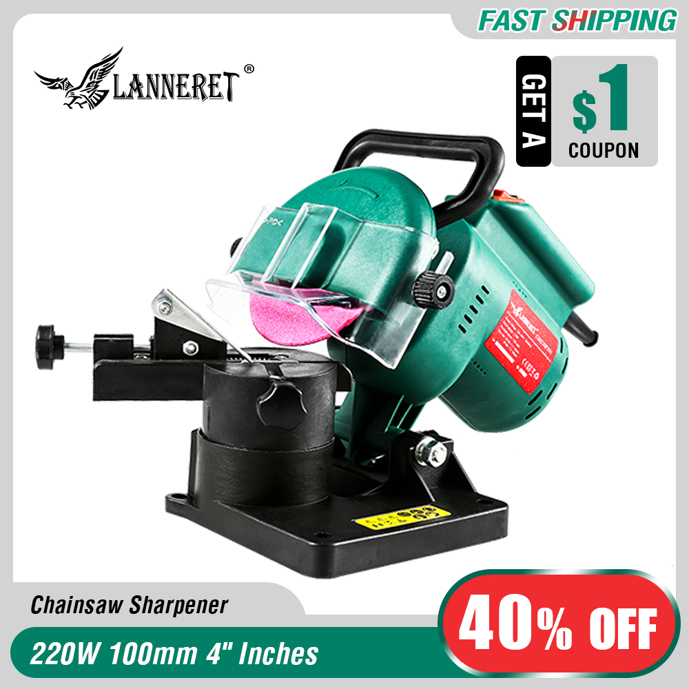 LANNERET 220W 100mm 4 Inches Power Chain Saw Sharpener Grinder Machine Garden Tools Portable Electric Chainsaw