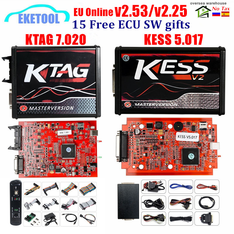 2020 Online Red V2.53 KESS V5.017 V2 KTAG V7.020 V2.25 4LED No Token OBD2 Manager K-TAG 7.020 KESS V2 ECU Upgrade Programmer