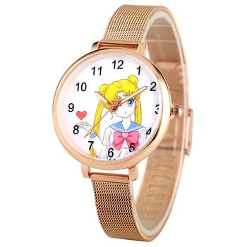 Sailor Moon Analog Wrist Watch for Girl Women Clock Rose Gold Mesh Strap reloj Female Bracelet Wristwatch Gift horloge dames - discount item  35% OFF Women's Watches