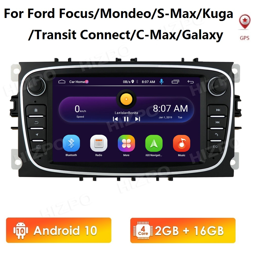 Android 10 Car Radio 2 Din Multimedia Player 7'' Audio DVD Player for Ford Focus S-Max Mondeo 2007-2012 Galaxy C-Max GPS No Dvd