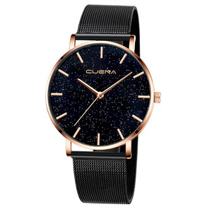 Image 5 - CUENA 高級ファッションカジュアルゴールドシルバー腕時計レディース女性のメッシュ鋼ストラップブランドアナログクォーツダイヤモンド腕時計腕時計