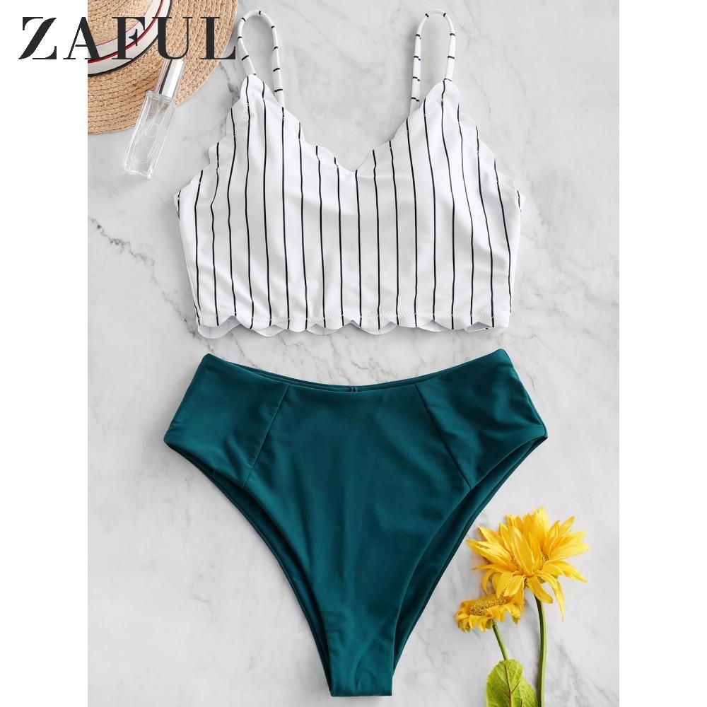 ZAFUL Women's Bikini Set Swimwear Swimsuit Vertical Striped Scalloped High Cut Tankini Swimsuit Padded Wire Free Cute Beachwear
