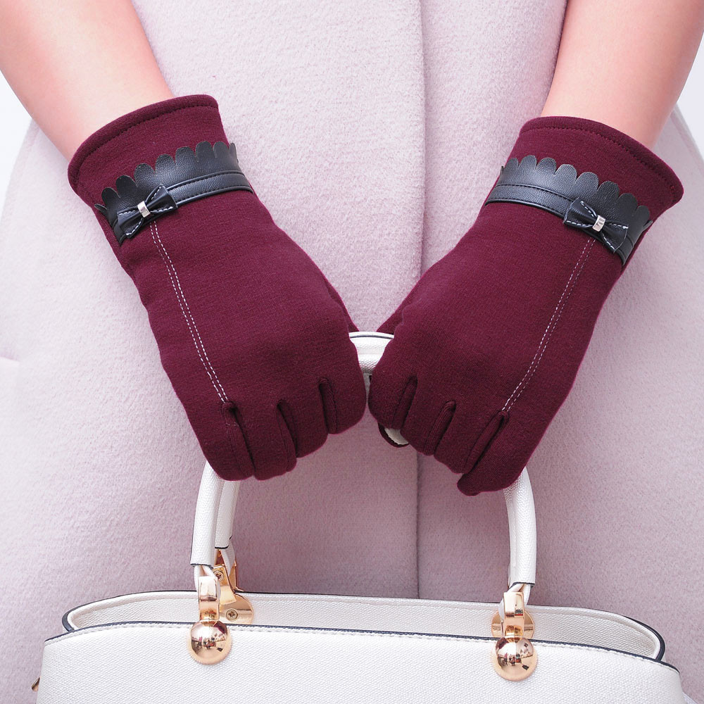 Women Gloves Elegant Winter Ladies Cotton Fashion Solid Comfortable Bowknot -Nu