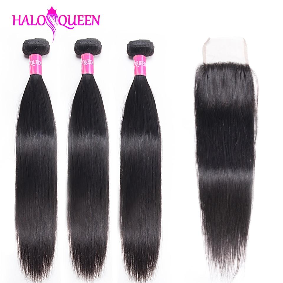 HALOQUEEN Straight Bundles With Closure Brazilian Hair Weave Bundles With Closure Human Hair Bundles With Closure Hair Extension