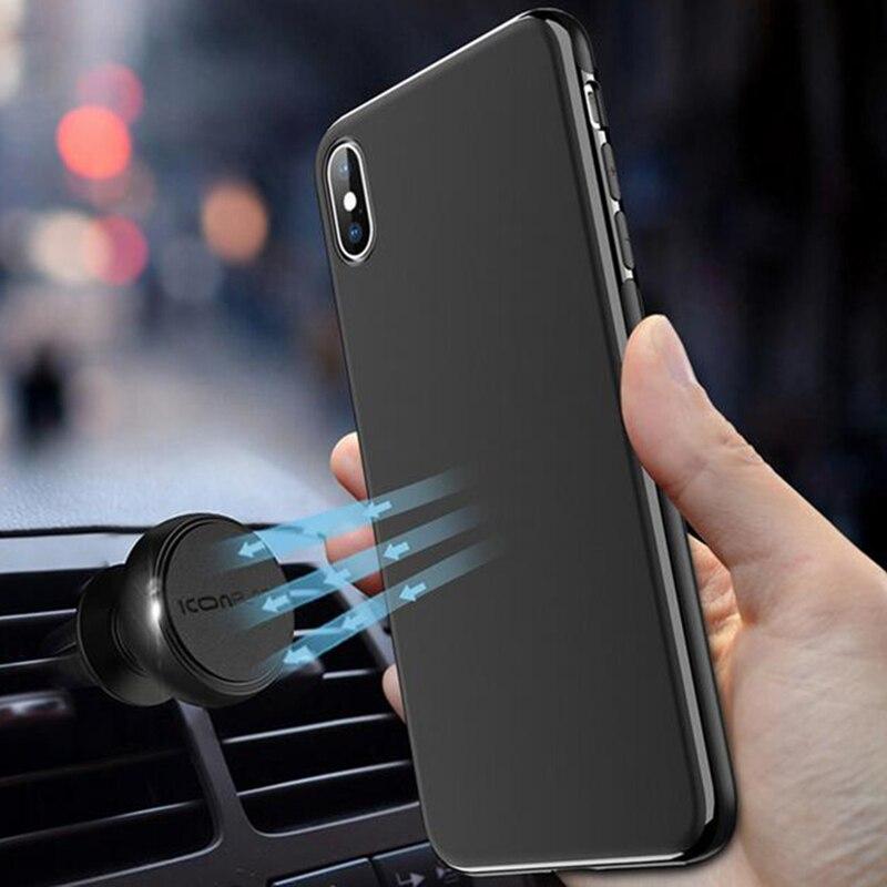 Ультратонкий магнитный автомобильный чехол для iPhone X 6 6s 7 8 Plus Невидимый встроенный Магнитная пластинка мягкий ТПУ противоударный чехол для ...