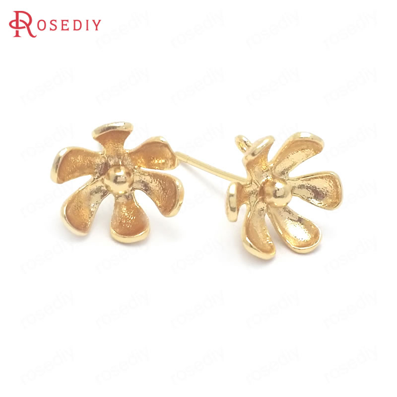 (37808)6PCS 11MM 24K Gold Color Brass Flower Shape Stud Earrings Pins Jewelry Making Supplies Diy Findings Accessories