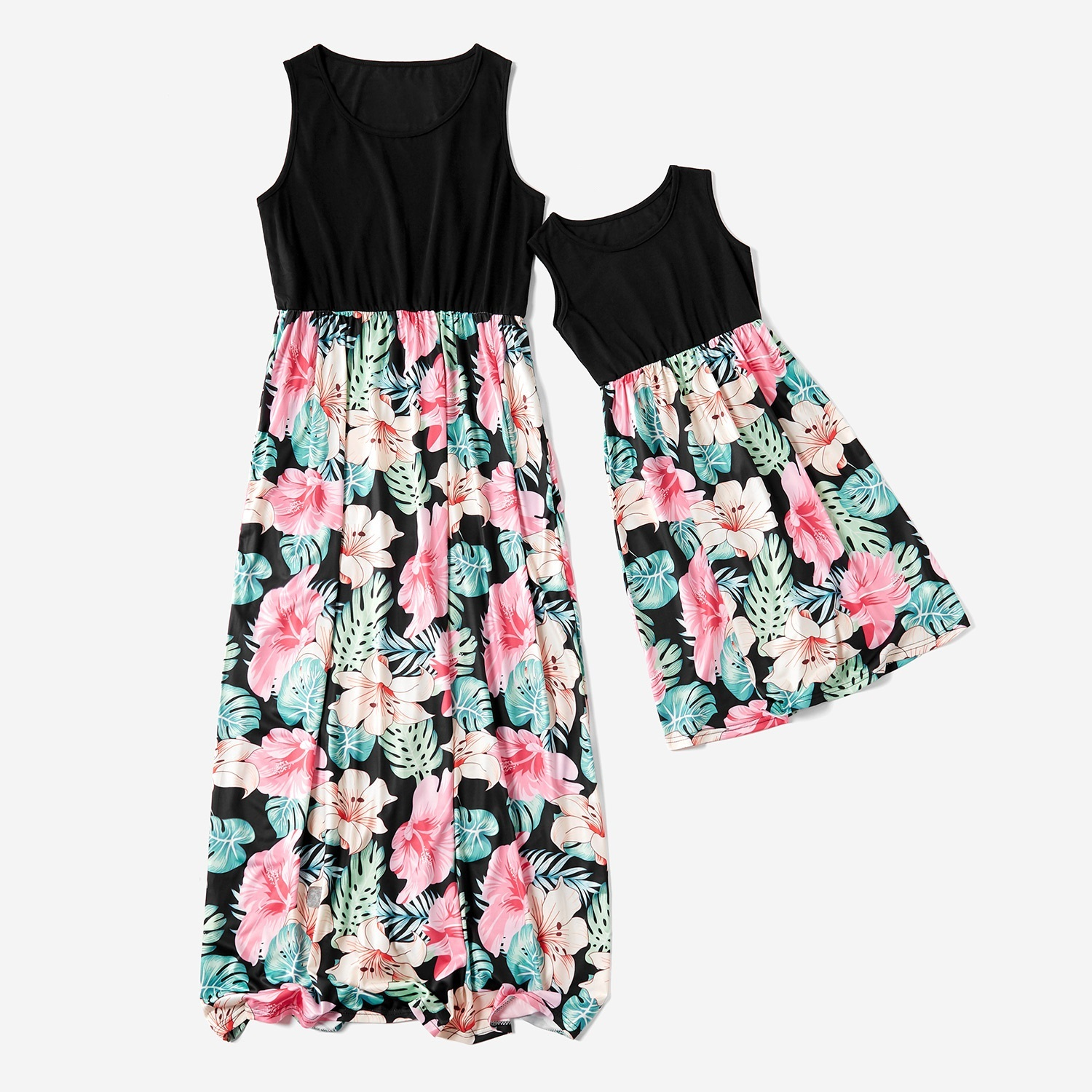 highwaist mother daughter vest dresses flower mommy and me clothes family matching outfits mom mum & baby women girls dress look