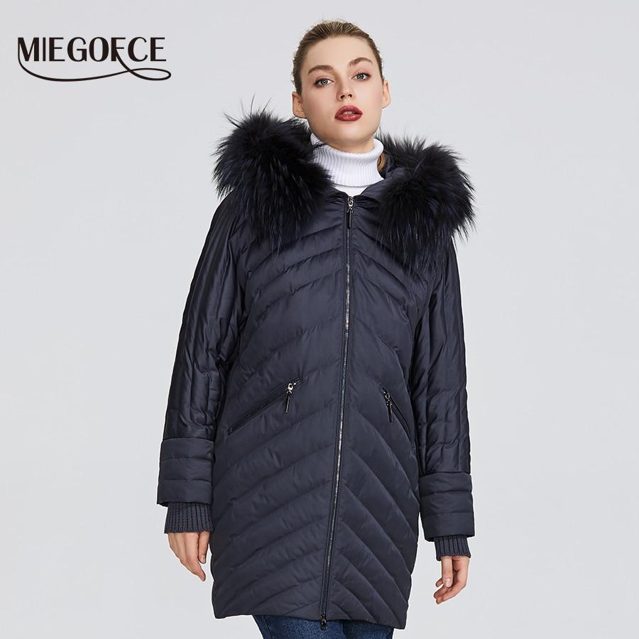 MIEGOFCE 2019 جديد الشتاء المرأة جمع من معطف الاستثنائي تصميم هناك هود مع الفراء الركبة طول الدافئة النساء سترة-في سترات فرائية مقلنسة من ملابس نسائية على  مجموعة 1