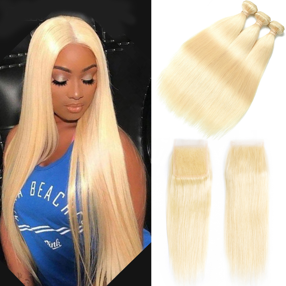 Beaudiva Straight Hair 613 Bundles With Closure Peruvian Hair Weave Bundles With Closure Human Hair Blonde Bundles With Closure