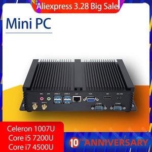 HYSTOU Industrial computer Core i5 7020U 7200U Mini PC windows 10 linux Desktop PC with Core i7 4500U Celeron 1007U Windows7