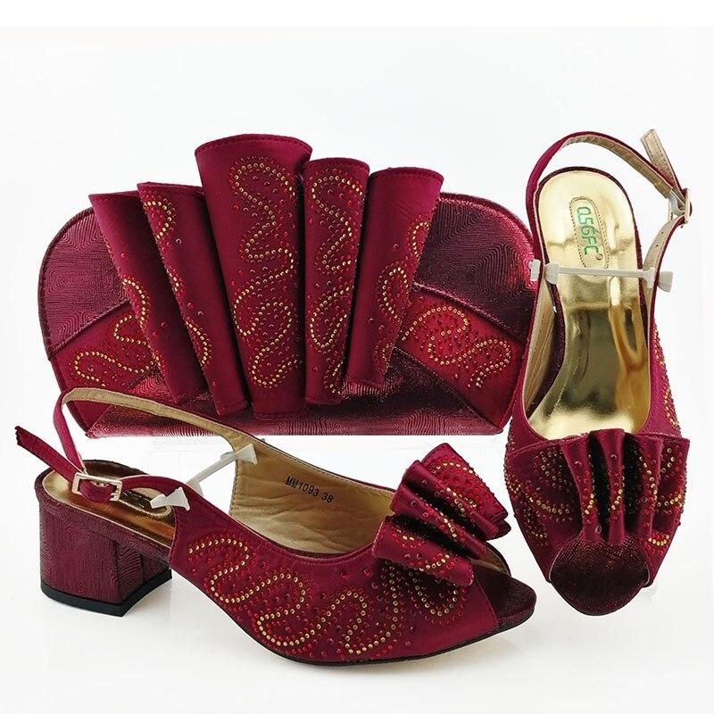 Mode vin rouge talon bas sandale chaussures correspondant embrayages sac pour africain aso ebi fête de mariage livraison gratuite SB8423-2