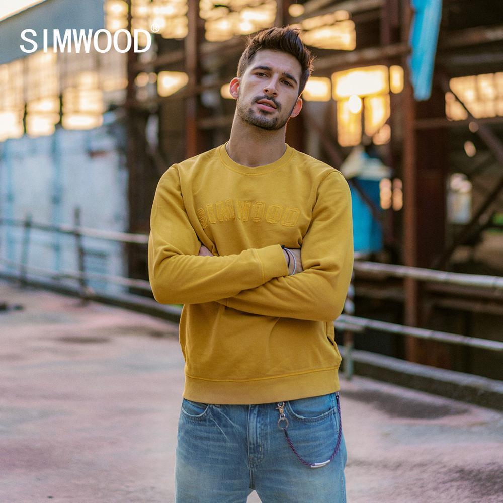 SIMWOOD 100% cotton patchwork letter hoodies men causal pullover Sweatshirt fashion tracksuit plus size hoodie 190465
