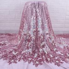 Zhengiru-tela de seda de leche de alta calidad, tela de encaje africano con lentejuelas, forma de flor, francés, para boda y fiesta, A2074