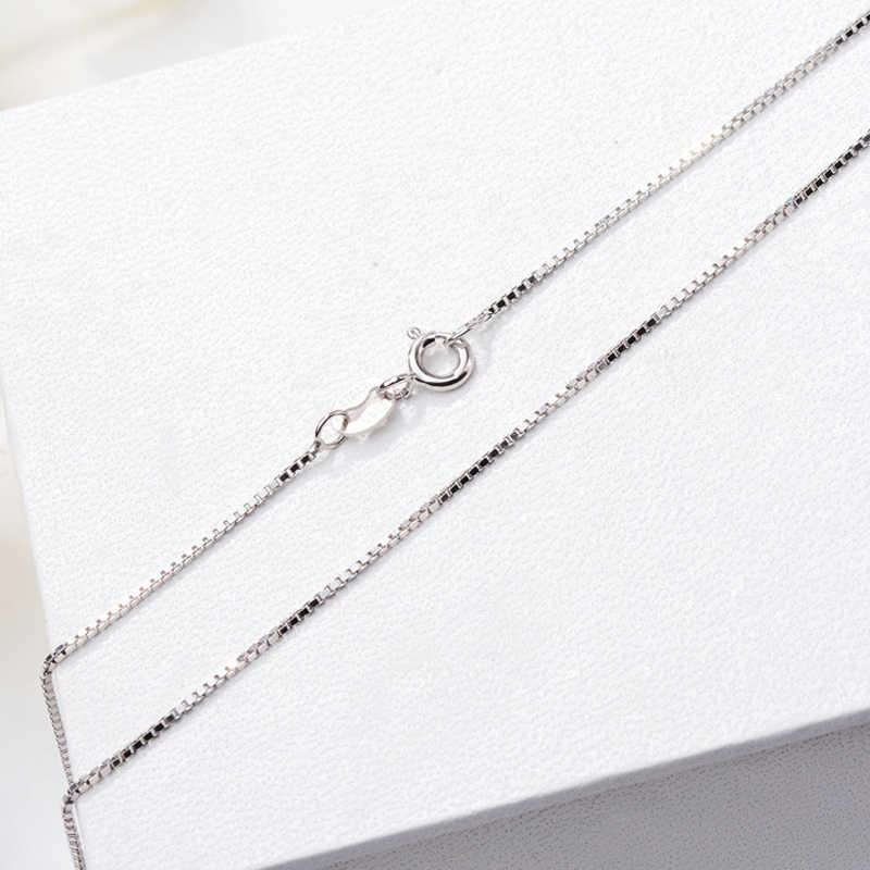 Mają certyfikat! 100% oryginalny 925 stałe srebrne łańcuszki naszyjniki dla kobiet pasuje wisiorek urok grzywny biżuteria i akcesoria