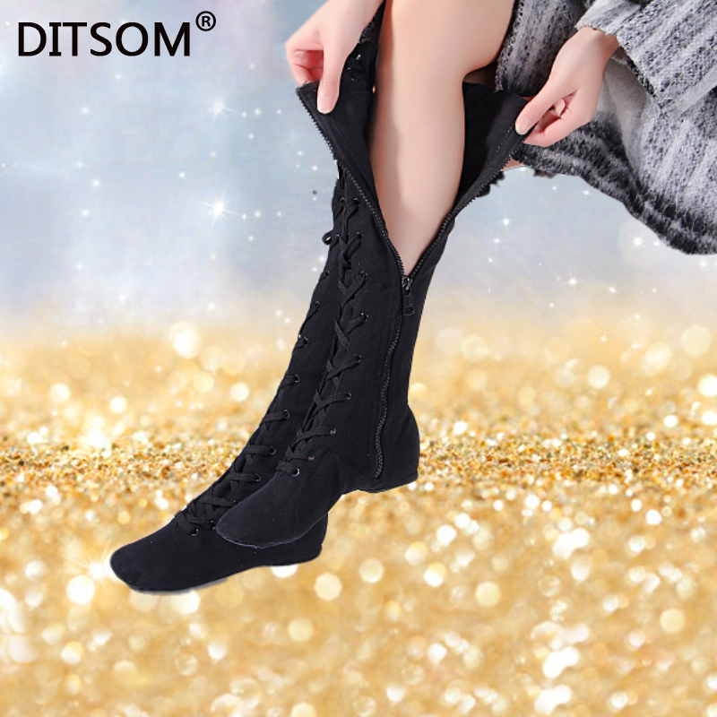 High Dance Boots For Women Canvas Side Zip And Lace Up Soft Ballet Jazz Dancing Shoes Street Dance Girls Stage Performance Shoes