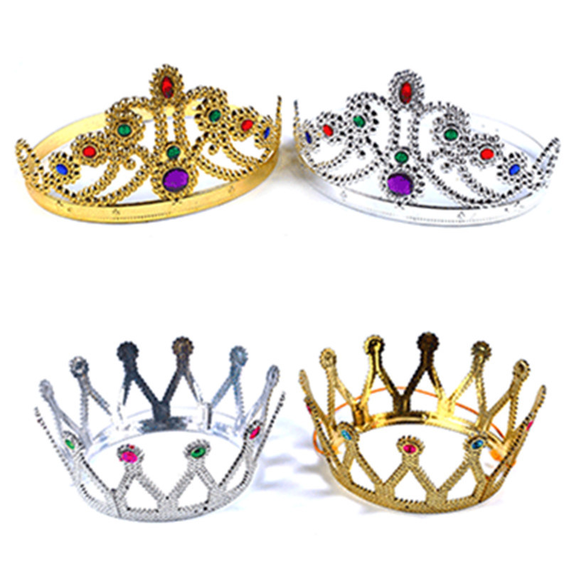 2Pcs Party Kids Hat Toy Accessory Party Set Birthday Kids Emperor King Crown Party Decoration Prince Princess Queen Crown Cap