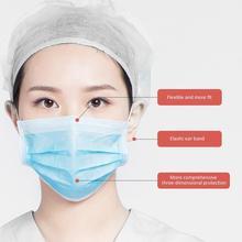 Дышащий одноразовые маски анти-туман пыли удобный маски для лица Голубая 10шт
