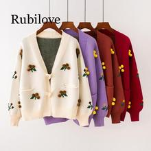 Rubilove 2019 Womens Sweaters New Autumn And Winter Horn Buckle Knit Cardigan Sweater Sweet Hairball Flower Women Coat
