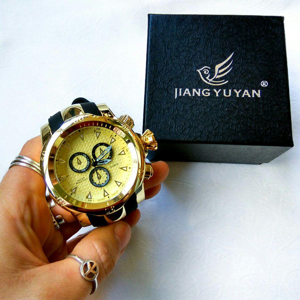 Top Marke Echte männer uhren sport uhr GROßE Zifferblatt gold quarzuhr Spezielle geschenk für männer Klettern Armbanduhren montre homme - 6