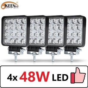 Image 1 - OKEEN 4pcs Car LED Bar Worklight 48W Offroad Work Light 12V Light Interior LED 4x4 LED Tractor Headlight Spotlight for Truck ATV
