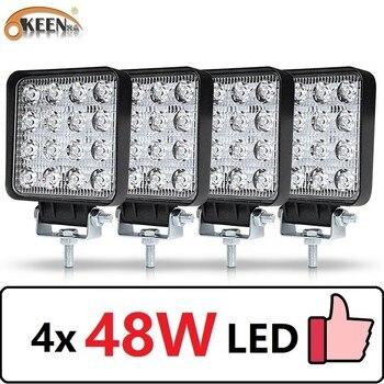 OKEEN 4pcs Car LED Bar Worklight 48W Offroad Work Light 12V Light Interior LED 4x4 LED Tractor Headlight Spotlight for Truck ATV