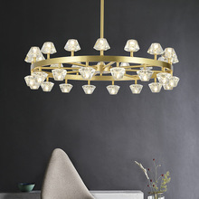 Nordic Light Luxury Crystal Chandelier Living Room Creative Bedroom Dining Hotel Led Round Brass Glass Gold Pendant Lamp