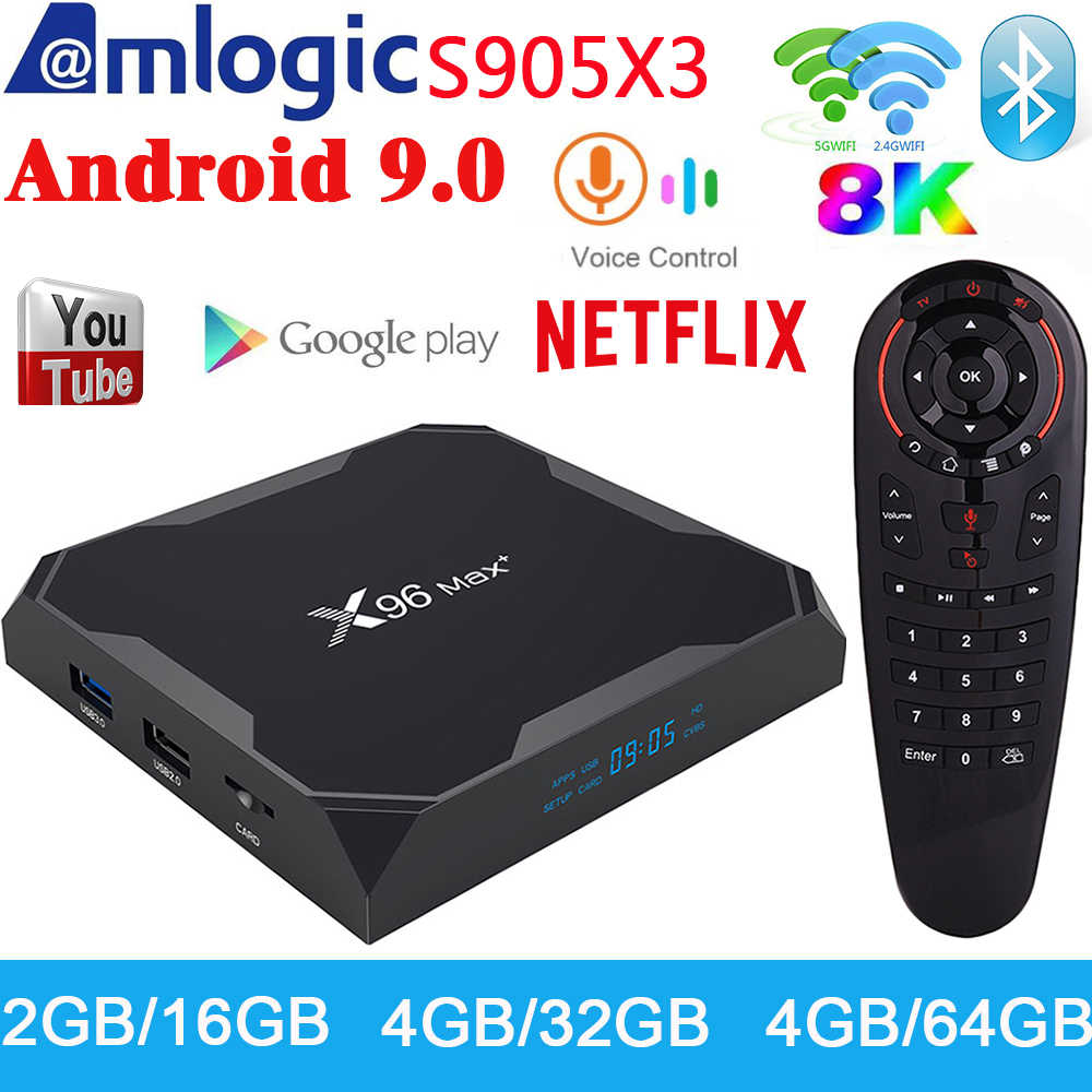 X96 Max Plus-boîte TV Android, 9.0 4 GB, Amlogic S905X3, boîte TV 1000 M, Smart Media Player, 2.4G, WiFi, Bluetooth, boîtier TV 8K