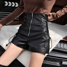 PU Leather Shorts Lace Up Zipper Gothic High Waist Short Pants SF