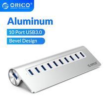 ORICO Aluminum Bevel Design Multi 10 Port USB 3.0 HUB High Speed Splitter With 12V Power Adapter ForMacbook Computer Accessories