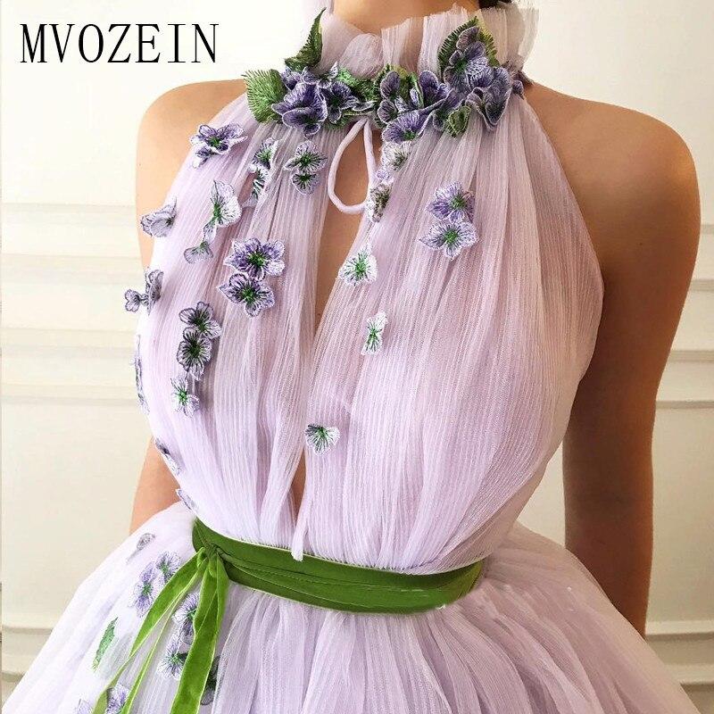 Elegant Lilac Evening Dress 3D Flower High Collar Party Wear Long Prom Dresses 2020 Sleevelss Formal Gowns Vestido De Festa