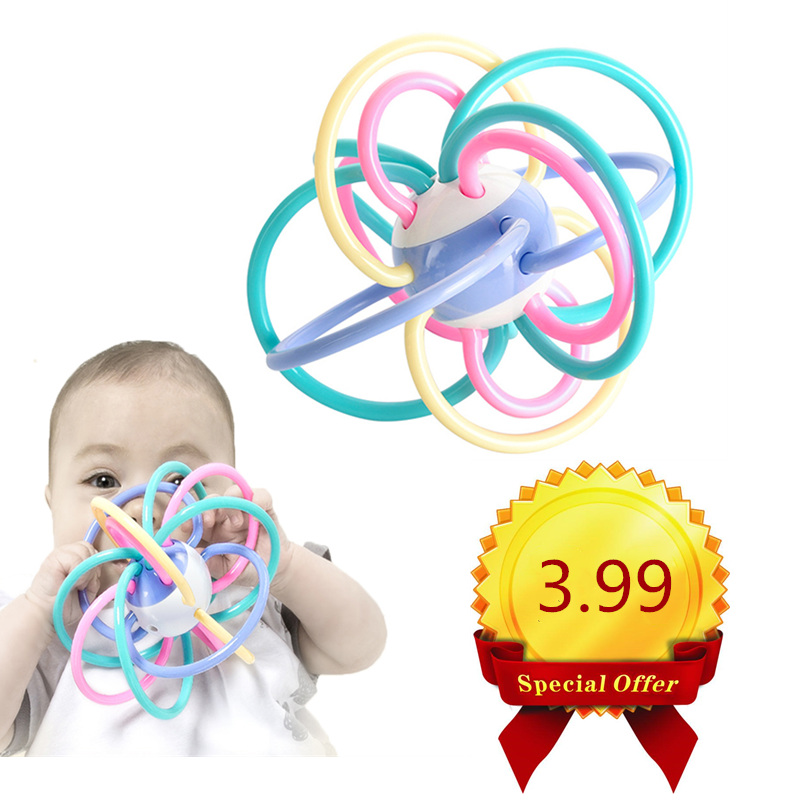 Baby Toys 0-12 Months Newborn Baby Development Ball Safe Soft Teething Toys Plastic Hand Bell Early Educational Rattle Teether