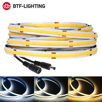 Taśma LED FCOB 360 528 diody Led wysoka gęstość elastyczny FOB COB światła LED RA90 ciepły charakter zimny biały liniowy ściemniania DC12V 24V tanie i dobre opinie BTF-LIGHTING CN (pochodzenie) ROHS SALON 50000 h Taśmy Epistar 3000k 4000k 6000k DC12V 24V BTF-FCOB LED STRIP 360 LEDs 528 LEDs