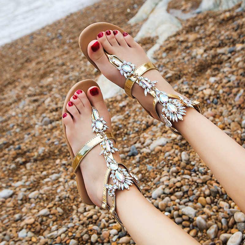 2019 sandały damskie moda buty dżetów łańcuchy stringi Gladiator sandały na płaskim obcasie kryształ Chaussure Plus rozmiar 42 tenis feminino