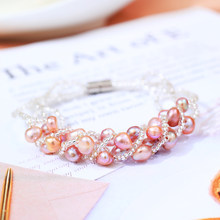 DMCBFP026 6-7mm Natural Freshwater Pearl Bracelet Handmade Pearl Jewelry For Women(China)
