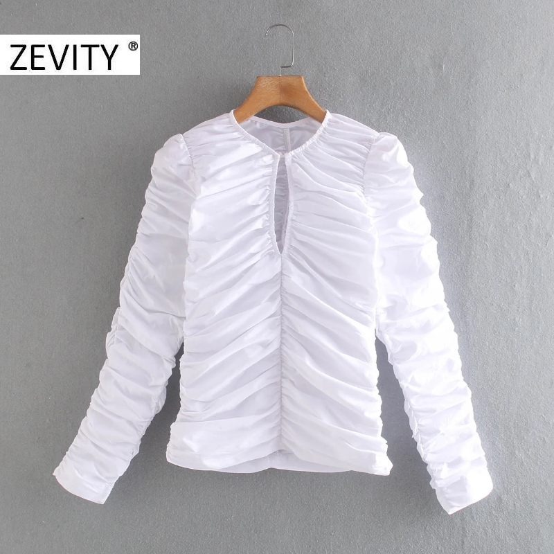 ZEVITY women vintage front hole pleated white smock blouse office ladies o neck puff sleeve zipper shirt chic blusas tops LS7106