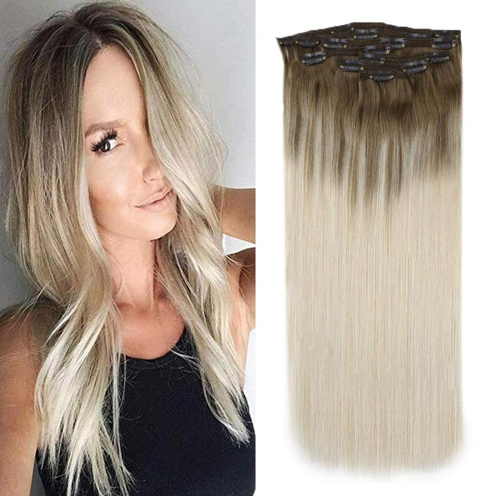 VeSunny Double Weft Clip In Hair Extensions 100% Real Human Hair 7pcs 120gr Clip On Hair Balayage Light Brown With Blonde #8A/60