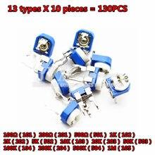 130 pces aparando o potenciômetro rm065 ajuste superior 100ohm-1mohm RM-065 resistores variáveis sortidas kit 13 tipo * 10 pces = 130 pces