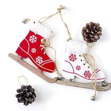 Рождество деревянный лед коньки обувь подвес орнамент кулон с колокольчиком вечеринка декор B36E